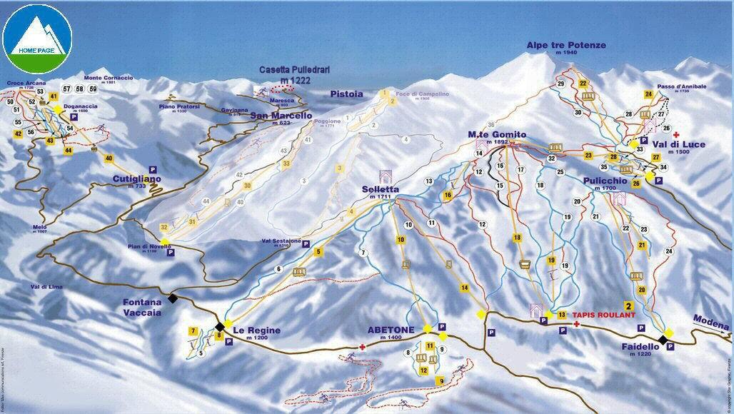 Mappa dell'impianto sciistico Abetone Ski