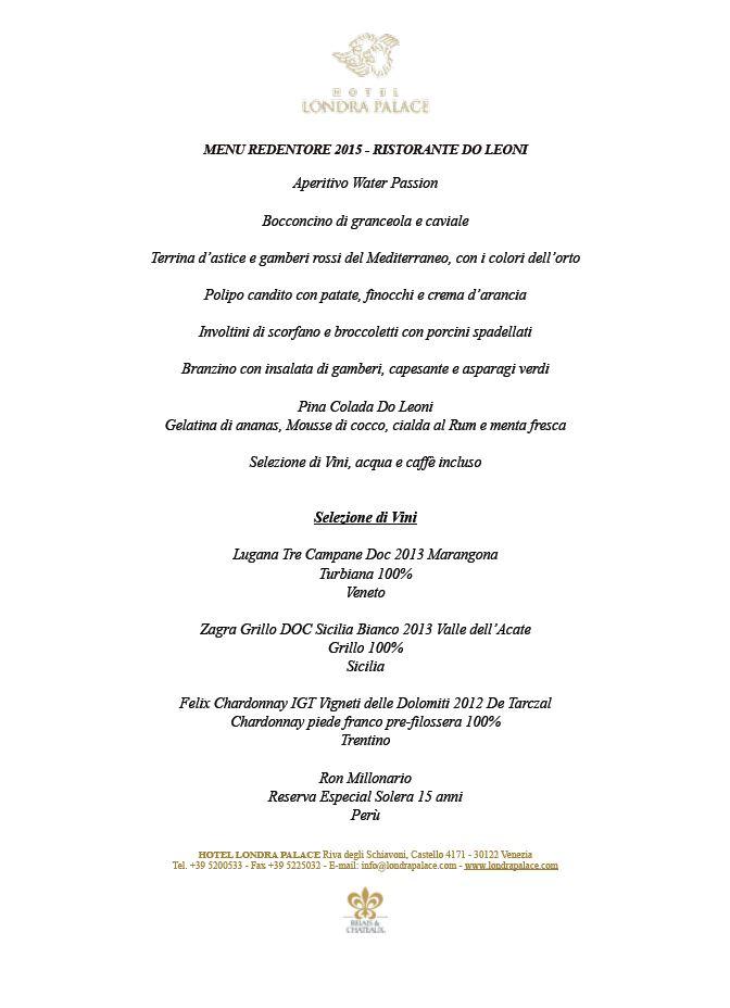 Tutti i menu del Redentore 2015 nei grandi ristoranti veneziani