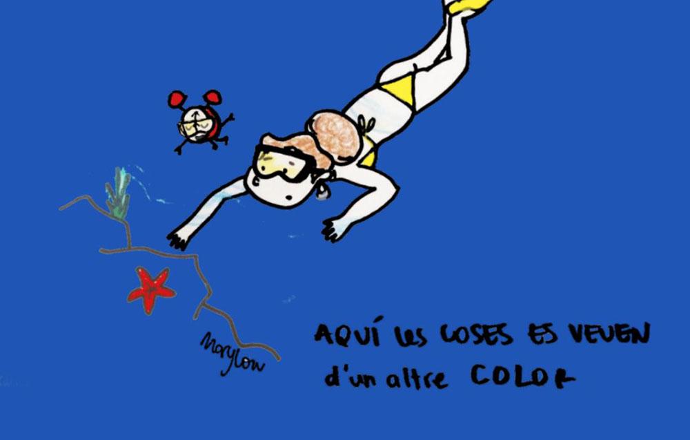 La protagonista de la nostra vinyeta s'endinsa al fons del mar i ho veu tot d'un altre color