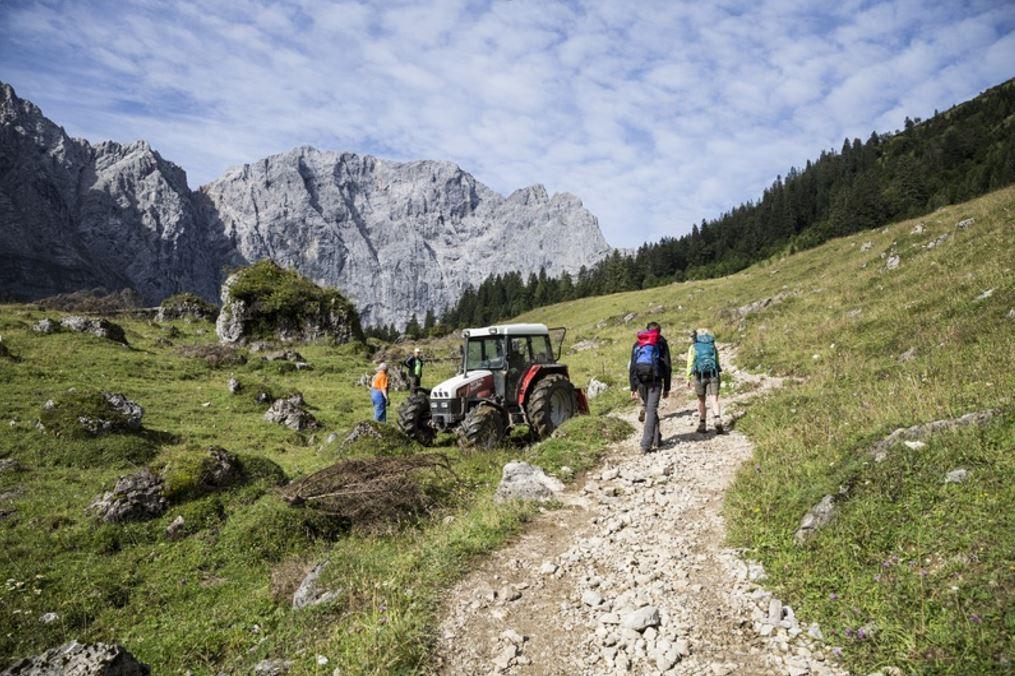 Caminadors i pagesos a les muntanyes d'Àustria