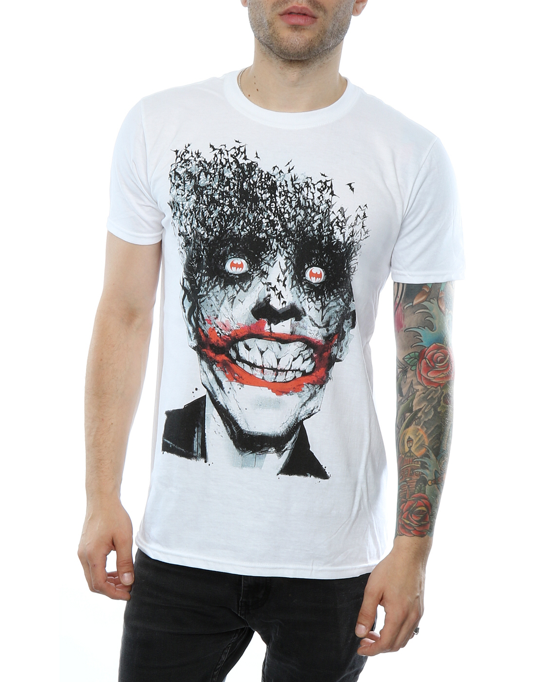 Dc comics men 39 s batman the joker bats t shirt for Riddler t shirt with bats