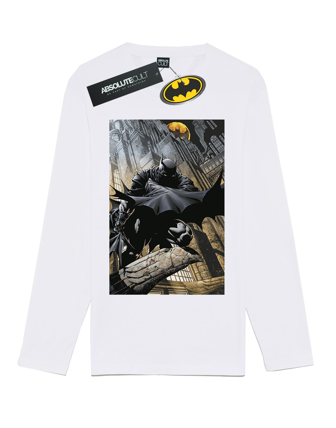 DC Comics Men/'s Batman Night Gotham City Long Sleeved T-Shirt