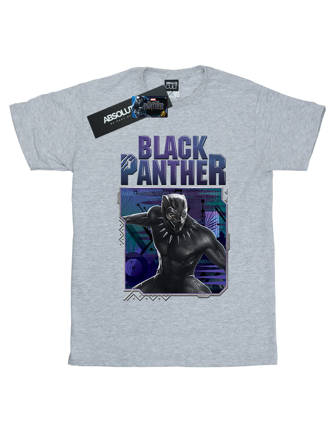 Marvel Boys Black Panther Tech Badge T-Shirt