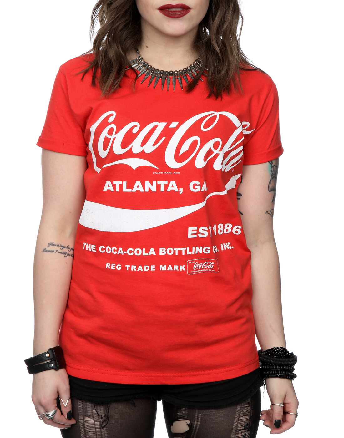 coca cola women 39 s drink 1886 roll sleeve t shirt ebay. Black Bedroom Furniture Sets. Home Design Ideas
