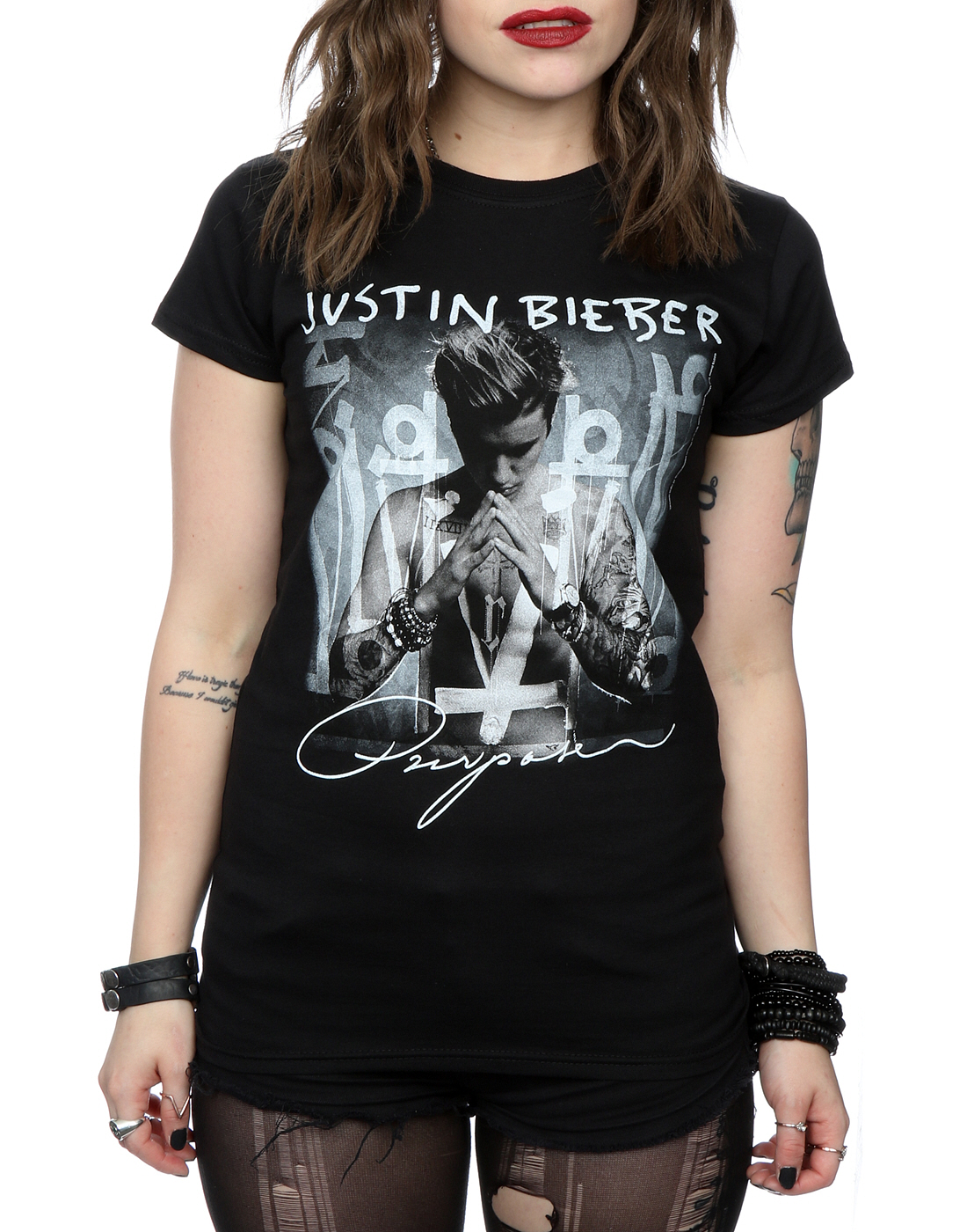 justin bieber women 39 s purpose album cover t shirt ebay. Black Bedroom Furniture Sets. Home Design Ideas