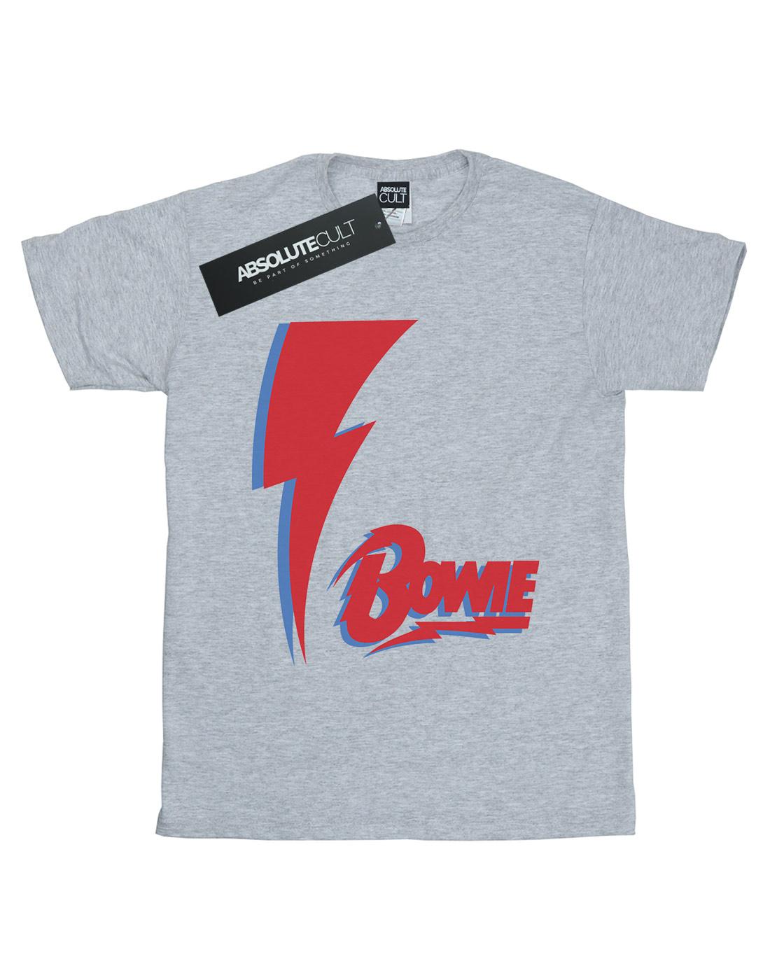 David Bowie Women/'s Red Bolt Boyfriend Fit T-Shirt