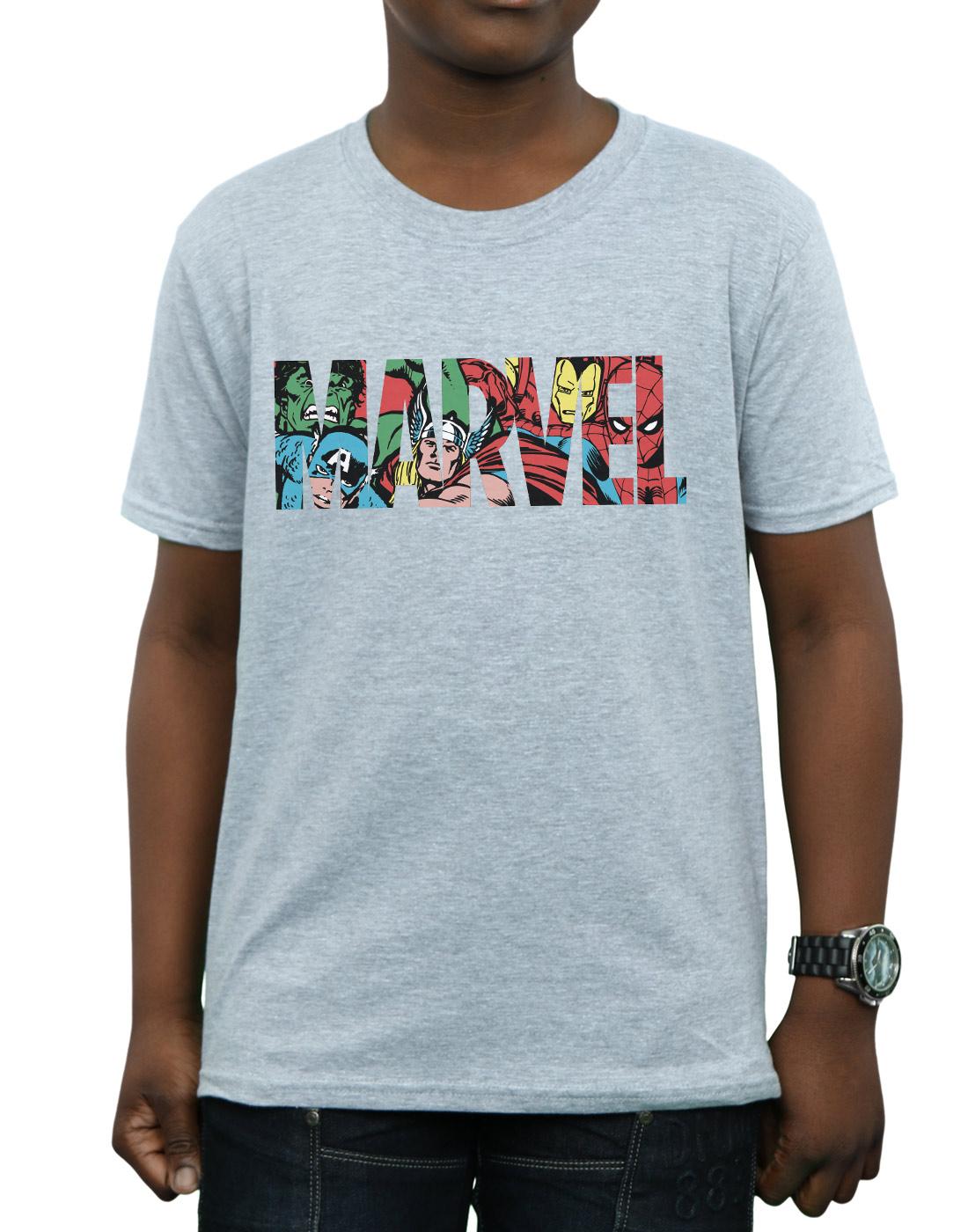 Marvel Comics Boys Logo Character Infill T-Shirt