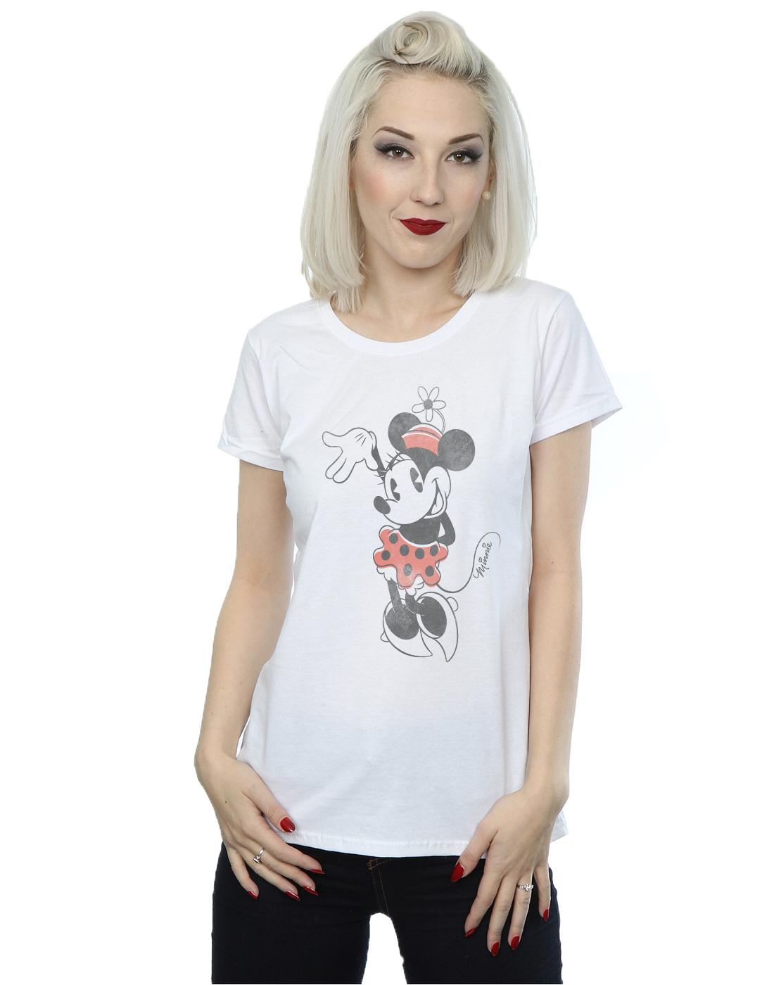 disney damen minnie mouse waving t shirt ebay. Black Bedroom Furniture Sets. Home Design Ideas