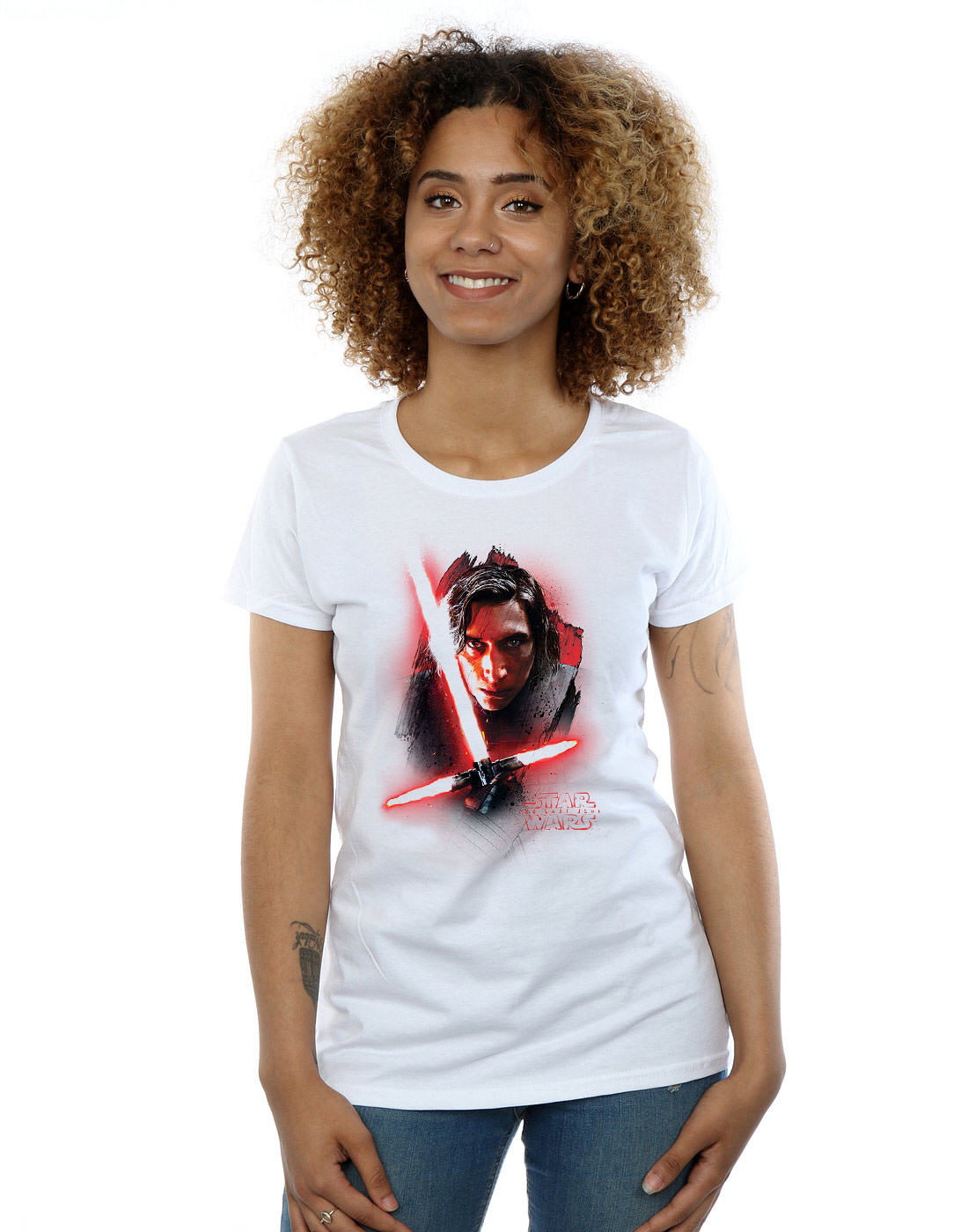 Star-Wars-Women-039-s-The-Last-Jedi-Kylo-Ren-Brushed-T-Shirt