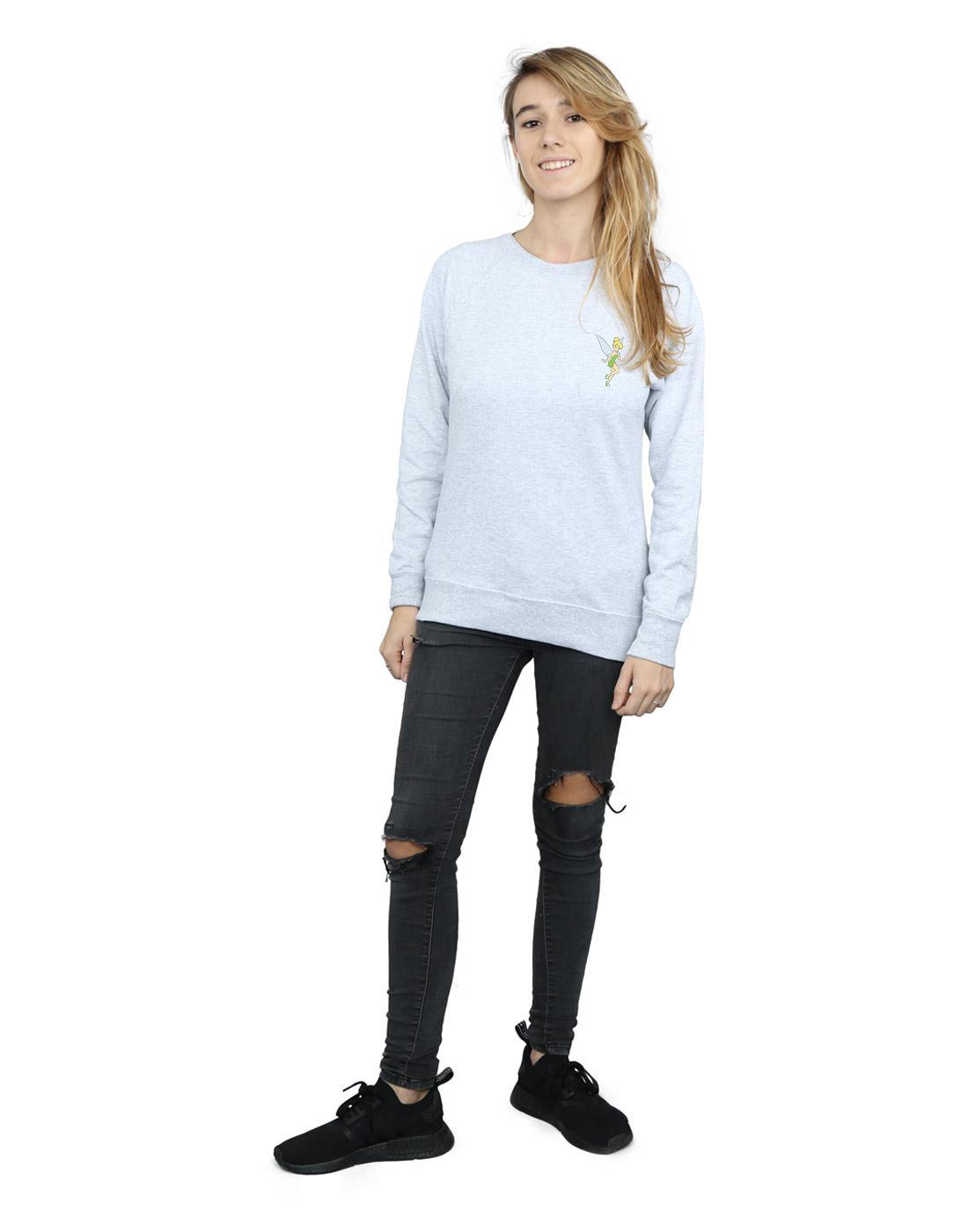 Disney Women/'s Tinkerbell Chest Sweatshirt