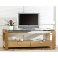Image of: Modern Oak and Glass TV Stand