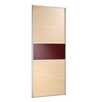 Image of: 2 Door Wardrobe Cabinet and Door Oak Style-Maroon Glass - Wardrobes