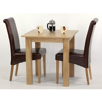 Image of: 2ft 6 x 2ft 6 Solid Oak Square Dining Table + 2 Brown Leather Scroll Back Chairs