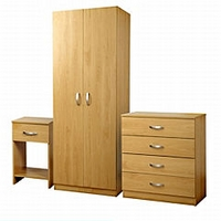 Image of: 3-piece Beech effect Bedroom Set Furniture - Wardrobes