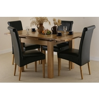 Image of: Solid Oak Extending Dining Set 3ft x 3ft + 4 Black Leather Chairs, Seats 6 People Extended