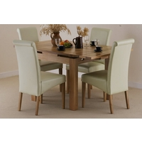 Image of: Solid Oak 3ft x 3ft Extending Dining Set + 4 Cream Leather Chairs, Seats 6 People Extended