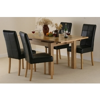 Image of: Solid Oak Extending Dining Table 3ft x 3ft, + 4 Black Leather Chairs - Seats 6 People