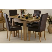 Image of: Solid Oak Extending Dining Table 3ft x 3ft, + 4 Brown Leather Chairs - Seats 6 People