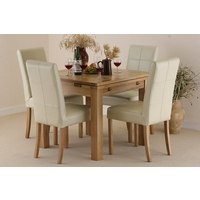 Image of: Solid Oak Extending Dining Table 3ft x 3ft + 4 Cream Leather Chairs - Seats 6 People