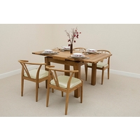 Image of: Solid Oak Rustic Extending Dining Set 3ft x 3ft + 4 Cream Round Solid Oak and Leather Dining Chairs