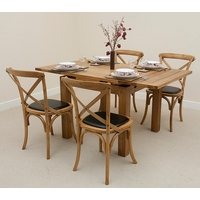 Image of: Solid Oak Rustic Extending Dining Set 3ft x 3ft + 4 Rustic Bistro Oak Black Leather Dining Chairs