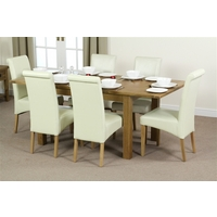 Image of: Rustic Oak Extending Dining Table 4ft 3 x 3ft + 6 Cream Leather Scroll Back Dining Chairs