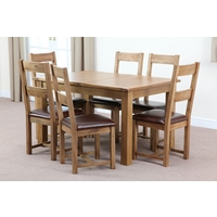 Image of: Rustic Solid Oak Extending Dining Table 4ft 3 x 3ft + 6 Oak Chairs - Oak Tables