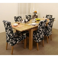 Image of: Extending Dining Table 4ft 7 + 6 Black Fabric Dining Chairs - Oak Table and Chairs
