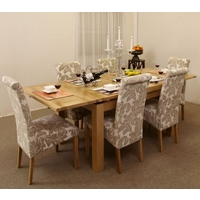 Image of: Extending Dining Table 4ft 7 + 6 Champagne Fabric Dining Chairs - Solid Oak