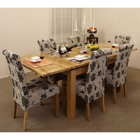 Image of: Extending Dining Table 4ft 7+ 6 Floral Fabric Dining Chairs - Solid Oak Tables