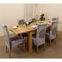 Image of Extending Dining Table 4ft 7 + 6 Grey Fabric Dining Chairs - Solid : oak dining table set - pezcame.com