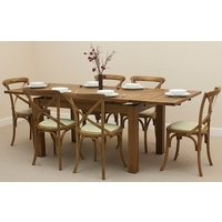 Image of: Rustic Solid Oak Extending Dining Table 4ft 7 x 3ft + 6 Rustic Bistro Oak Cream Leather Chairs