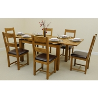 Image of: Rustic Solid Oak Extending Dining Table 4ft 7 x 3ft + 6 Rustic Solid Oak and Leather Dining Chairs