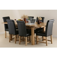 Image of: Solid Oak Extending Dining Table 4ft 7 x 3ft + 6 Black Leather Braced Scroll Back Chairs