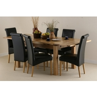 Image of: Solid Oak Extending Dining Table 4ft 7 x 3ft + 6 Black Leather Scroll Back Chairs - Oak