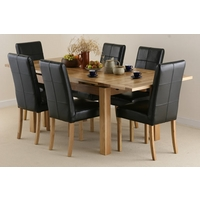 Image of: Solid Oak Extending Dining Table 4ft 7 x 3ft + 6 Black Leather Stitch Back Chairs - Oak