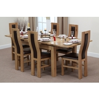 Image of: Solid Oak Extending Dining Table 4ft 7 x 3ft + 6 Brown Curve Back Chairs - Oak Tables