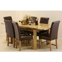 Image of: Solid Oak Extending Dining Table 4ft 7 x 3ft + 6 Brown Leather Braced Scroll Back Chairs