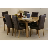 Image of: Solid Oak Extending Dining Table 4ft 7 x 3ft + 6 Brown Leather Stitch Back Chairs - Oak