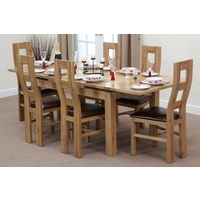 Image of: Solid Oak Extending Dining Table 4ft 7 x 3ft + 6 Brown Wave Back Chairs - Oak Tables