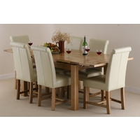 Image of: Solid Oak Extending Dining Table 4ft 7 x 3ft + 6 Cream Leather Braced Scroll Back Chairs