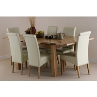 Image of: Solid Oak Extending Dining Table 4ft 7 x 3ft + 6 Cream Leather Scroll Back Chairs - Oak