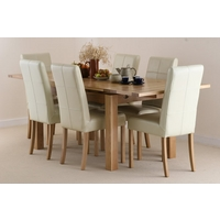 Image of: Solid Oak Extending Dining Table 4ft 7 x 3ft + 6 Cream Leather Stitch Back Chairs