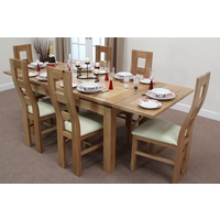 Image of: Solid Oak Extending Dining Table 4ft 7 x 3ft + 6 Cream Wave Back Chairs - Oak Tables