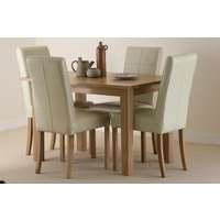 Image of: Compact Solid Oak Dining Set 4ft x 2ft 8 + 4 Cream Stitch Back Leather Dining Chairs