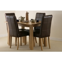 Image of: Compact Solid Oak Dining Table 4ft x 2ft 8 + 4 Stitch back Leather Dining Chairs