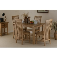 Image of: Solid Oak Dining Table 4ft x 2ft 8 + 4 Solid Oak High Back Chairs - Oak Tables