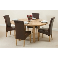 Image of: Solid Oak Round Extending Dining Table 5ft 3 + 4 Brown Scroll Back Leather Chairs