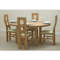 Image of: Solid Oak Round Extending Dining Table 5ft 3 + 4 Cream Wave Back Leather Chairs