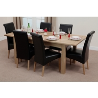 Image of: Cairo Solid Oak 5ft x 3ft Extending Dining Table + 6 Black Leather Scroll Back Dining Chairs